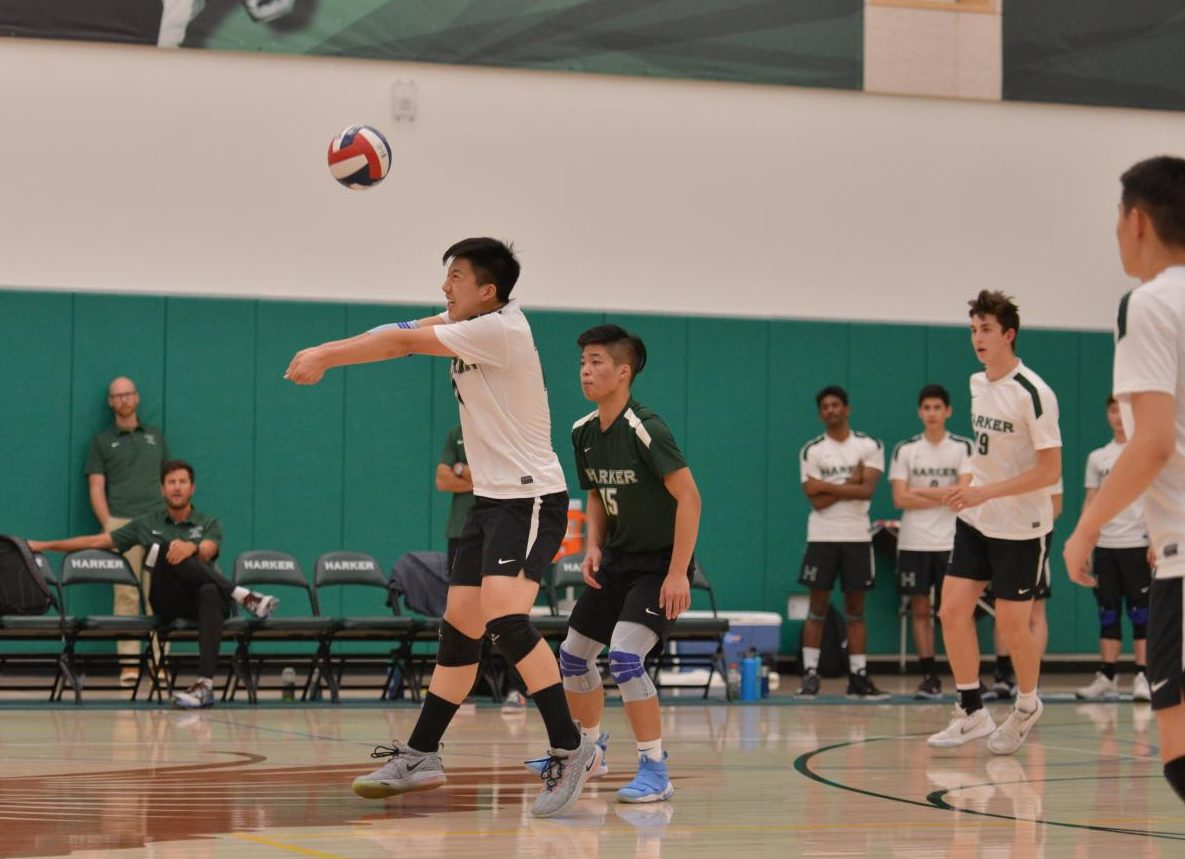 Billy Fan bumps the ball during the Eagles' semifinals matchup against the Bells. The Eagles won three sets to none, 25-15, 25-21, 25-20.