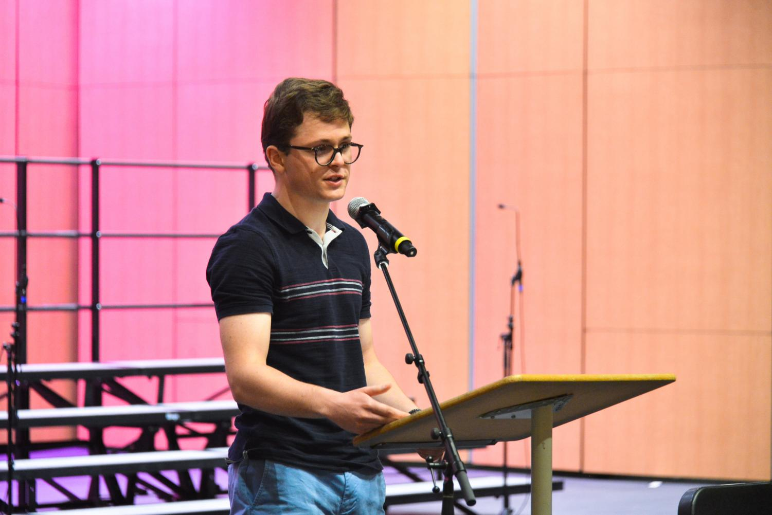 Thomas Rainow (11) delivers his speech as a candidate for his class's senior council. Several candidates from each class ran for class council this year, with a record number of 28 candidates running for next year's junior class council.