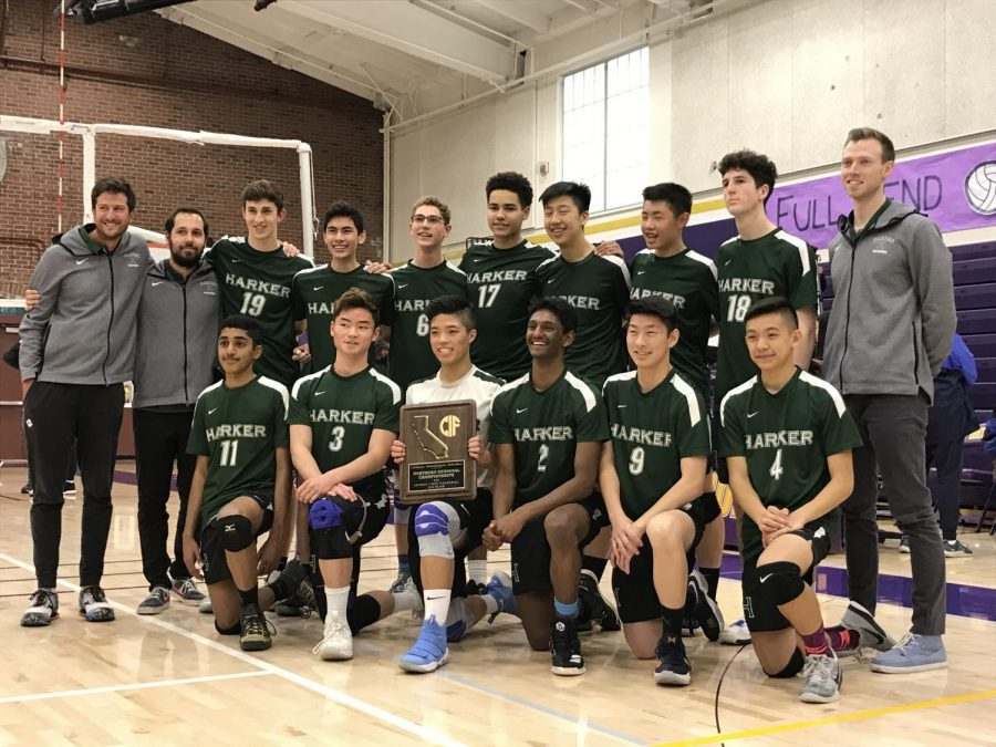 The+boys%27+volleyball+team+poses+with+the+NorCal+Division+1+runner-up+trophy.+