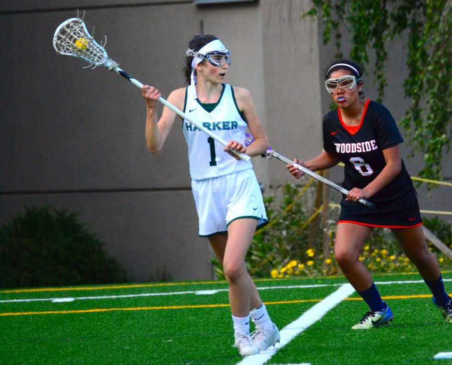 Zoe+Sanders+%2810%29+evades+a+defender+as+she+sprints+up+field.+The+girls+lacrosse+team+finished+the+season+as+league+champions+with+an+impressive+record+of+9-1.