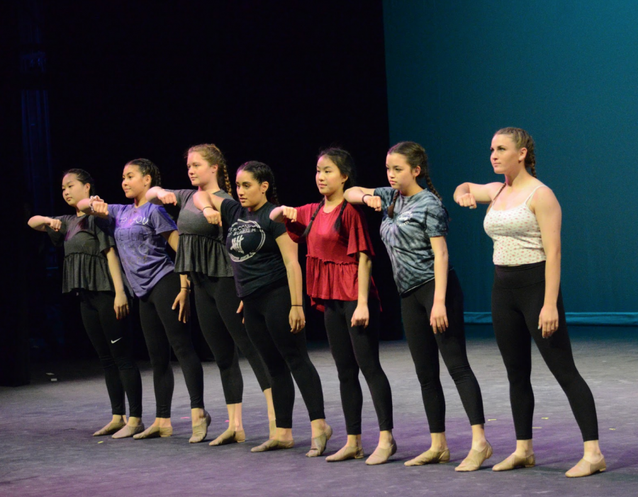 Members+of+both+JV+and+Varsity+dance+stand+in+a+line+and+execute+a+move+from+Olivia+Esparza%27s+%2812%29+senior+showcase+dance.