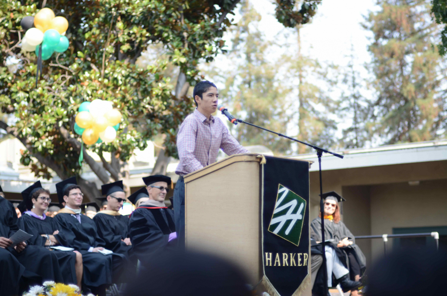 Former ASB president Sandip Nirmel ('17) makes a speech at matriculation in 2016. The Harvard Crimson reported Friday that Sandip, who was a sophomore at Harvard University, died of