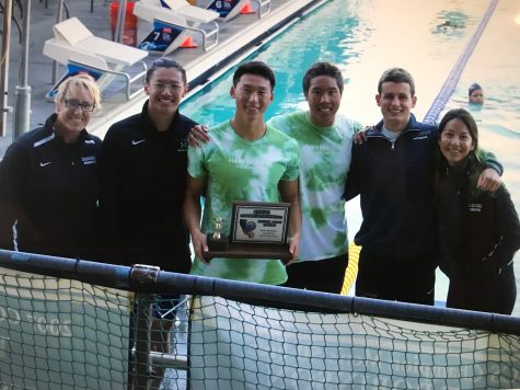 Swim coaches and the relay team of Jason, Ethan, Matthew and Rhys pose with the third place trophy at CCS. The team competes at State Championships today.