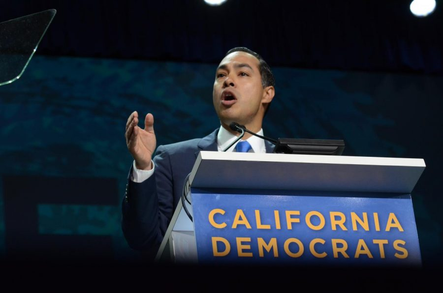 Julián Castro brings up his concerns with the current administration's immigration policy during the California Democrats' State Convention in June 2019. He was formerly the mayor of San Antonio, Texas, and Secretary of Housing and Urban Development.