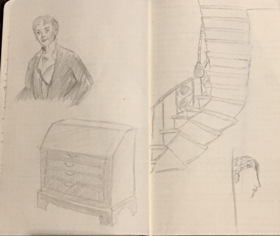 In the top left corner of the sketch is a portrait of Sir John Soane that hung in the drawing room. This portrait was more realistic than the one hanging in the living room. Below the rendition of his portrait is a kitchen cabinet. On the other page is the curly staircase from a view from below.