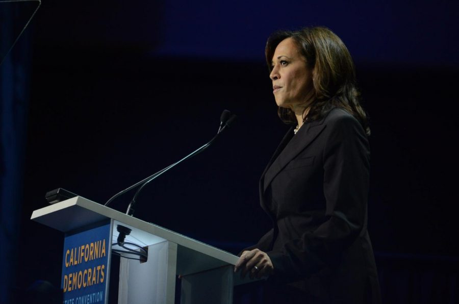 U.S.+Senator+Kamala+Harris+speaks+at+the+first+General+Assembly+of+the+convention.+She+called+for+Democrats+to+take+a+serious+look+at+impeachment+proceedings+for+President+Trump.