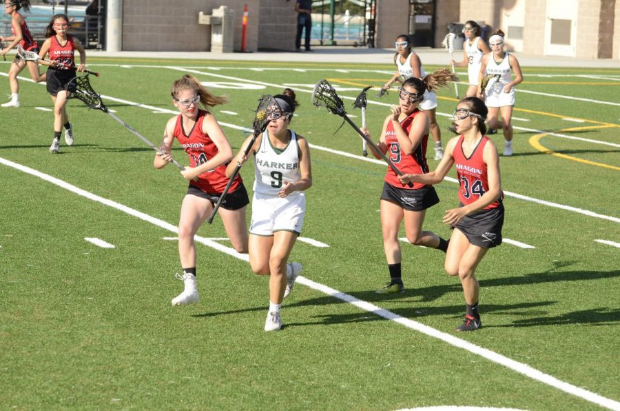 Heidi Zhang ('19) runs away from two Aragon players with the ball in her hand during the varsity girls lacrosse team's CCS quarterfinals match.