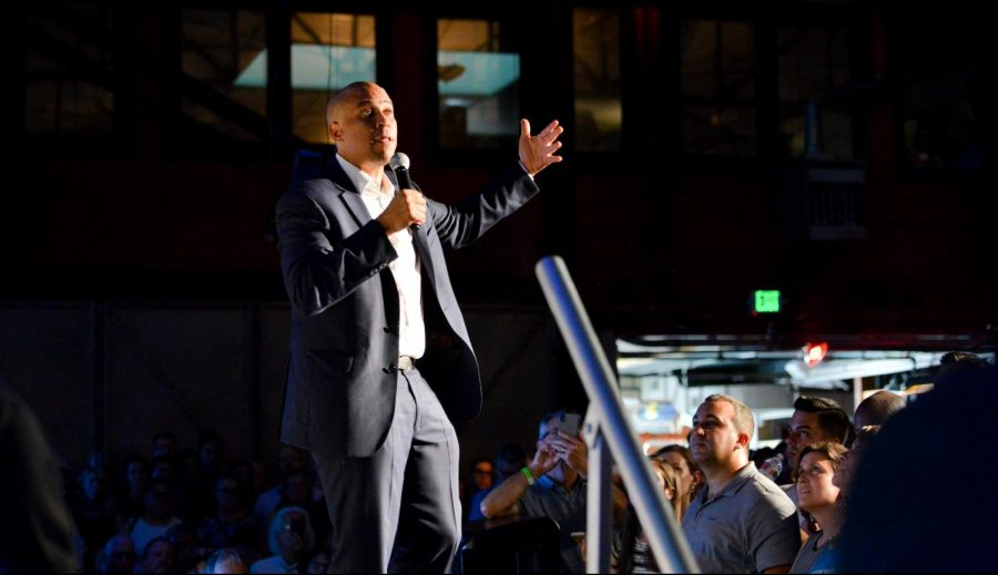 2020 Democratic primary candidate Sen. Cory Booker (D-NJ) addresses a crowd of over four hundred at his happy hour fundraiser yesterday. The fundraiser, hosted prior to the Democratic National Committee summer meetings this weekend, was held at the Folsom Street Foundry in San Francisco to popularize Booker's campaign.