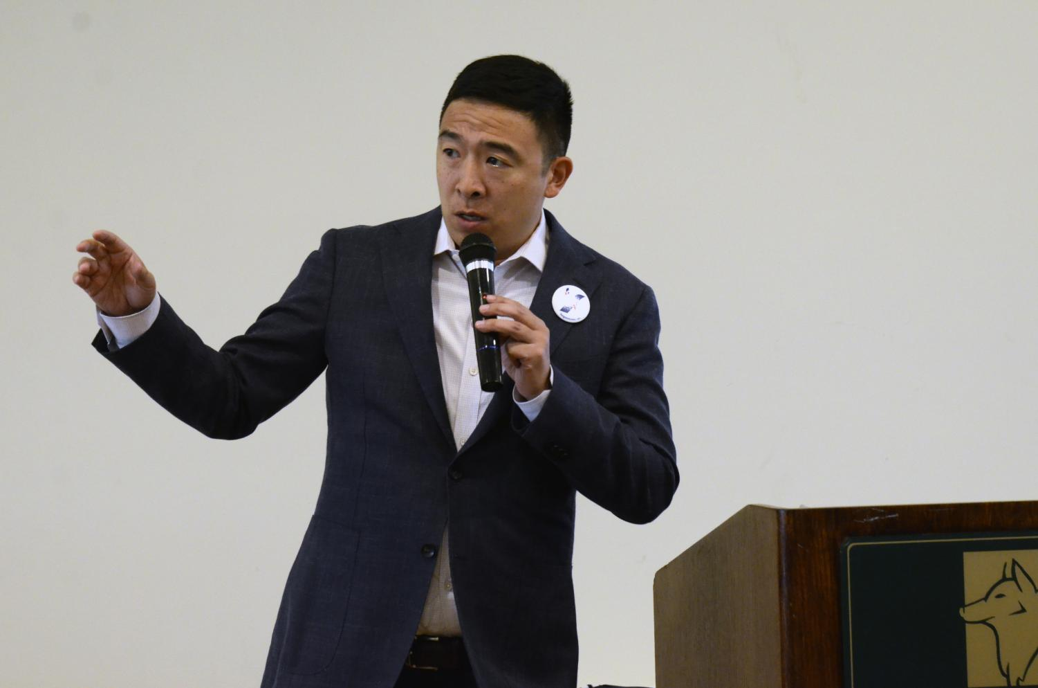 """In his speech at a fundraiser in Morgan Hill yesterday, Democratic presidential candidate Andrew Yang called himself """"the opposite of Trump: an Asian man who likes math."""" Of people who voted for Trump in 2016, 10 percent have said that they support Yang."""
