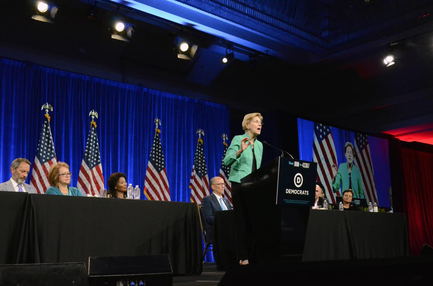 Warren+speaks+to+DNC+members+and+their+guests+on+how+the+government+has+stopped+working+for+the+people.+Warren+is+one+of+13+candidates+who+delivered+a+speech+at+the+DNC+meeting+on+Friday.