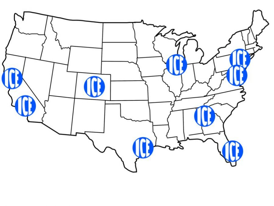 This map illustrates the locations of recent ICE raids nationwide.
