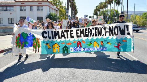Climate strikers march down Santa Clara Street in downtown San Jose, chanting and shouting for environmental protection policies and governmental action. Last Friday, millions of protestors around the world took to the streets to demand climate action from national governments, most of these strikes led by youth activists.