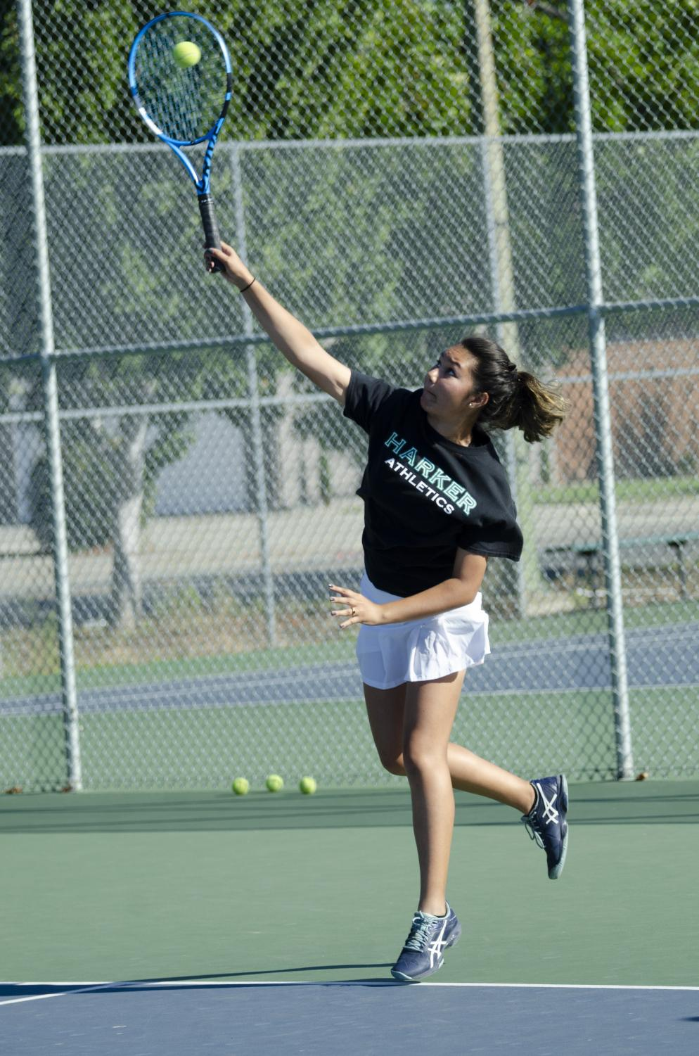 Madeleine+Hansen+%2810%29+practices+serving+during+a+girls+tennis+practice+at+Blackford.+The+Eagles+defeated+Salinas+5-2+in+the+finals+of+the+Santa+Catalina+Tennis+Invitational+this+weekend+to+take+home+the+championship.+