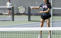 Hilari Fan (11) practices with the team at the Blackford tennis courts. The girls next play against Menlo-Atherton in the quarterfinals of the CCS tournament on Thursday.