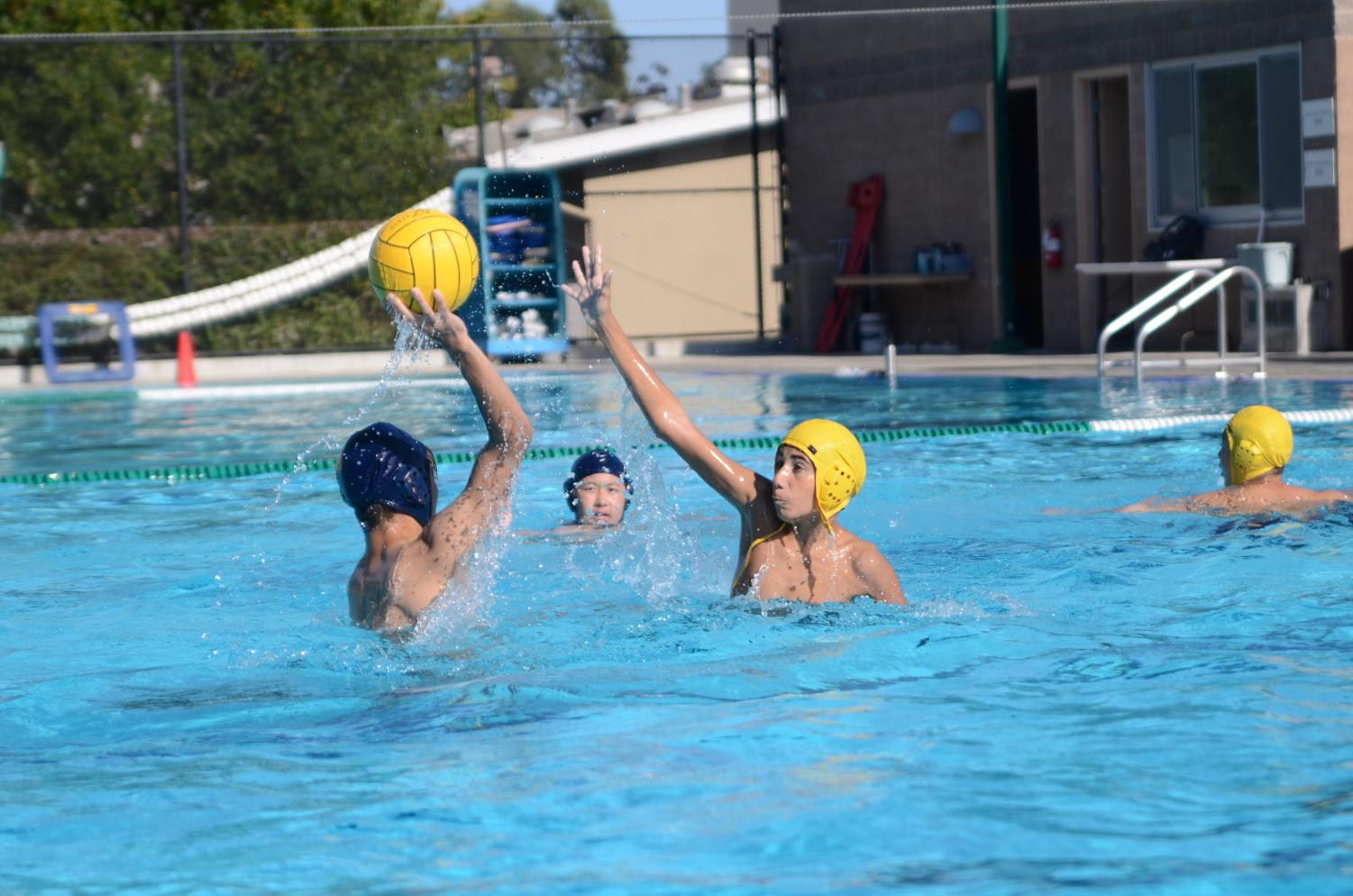 The+boys+water+polo+team+practices+at+the+Upper+School.+The+varsity+boys+water+polo+team+will+host+Milpitas+High+on+Sept.+10+for+their+first+home+game.