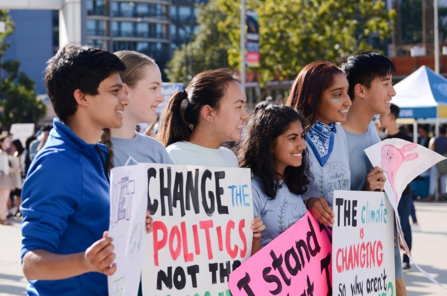 Members+of+the+upper+school+Green+Team+pose+with+their+protest+posters+in+front+of+the+climate+strike+rally+at+San+Jose+City+Hall+on+Friday.+Green+Team+hosted+a+sign-making+session+during+lunch+on+Thursday+to+prepare+for+the+rally%2C+which+began+at+4+p.m.+and+featured+a+number+of+student+and+adult+speakers+alike.