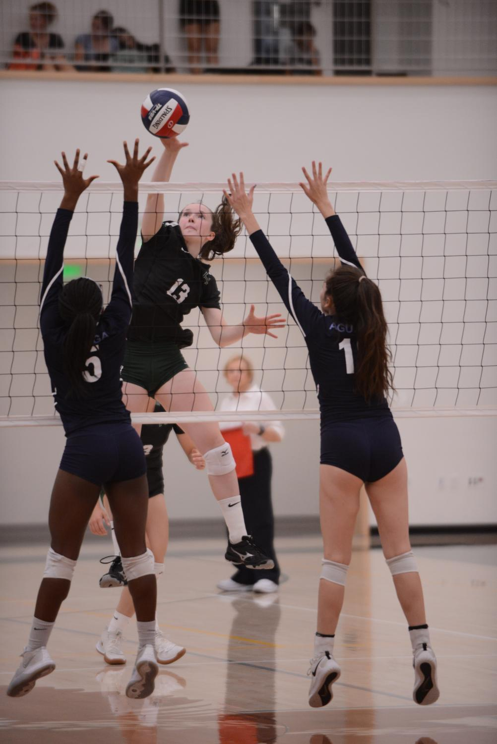Ashley+Jazbec+%2812%29+performs+a+kill+during+the+match+against+Branham.+The+girls+next+play+against+Mercy+%28Burlingame%29+on+Wednesday.+