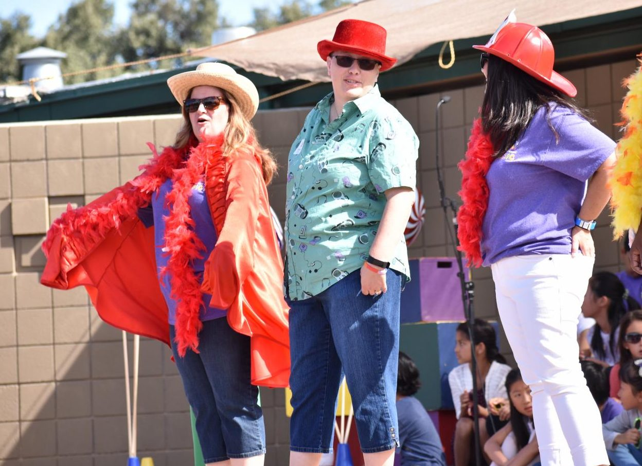 Director of Learning, Innovation and Design Diane Main acts out a part of the annual picnic show, themed