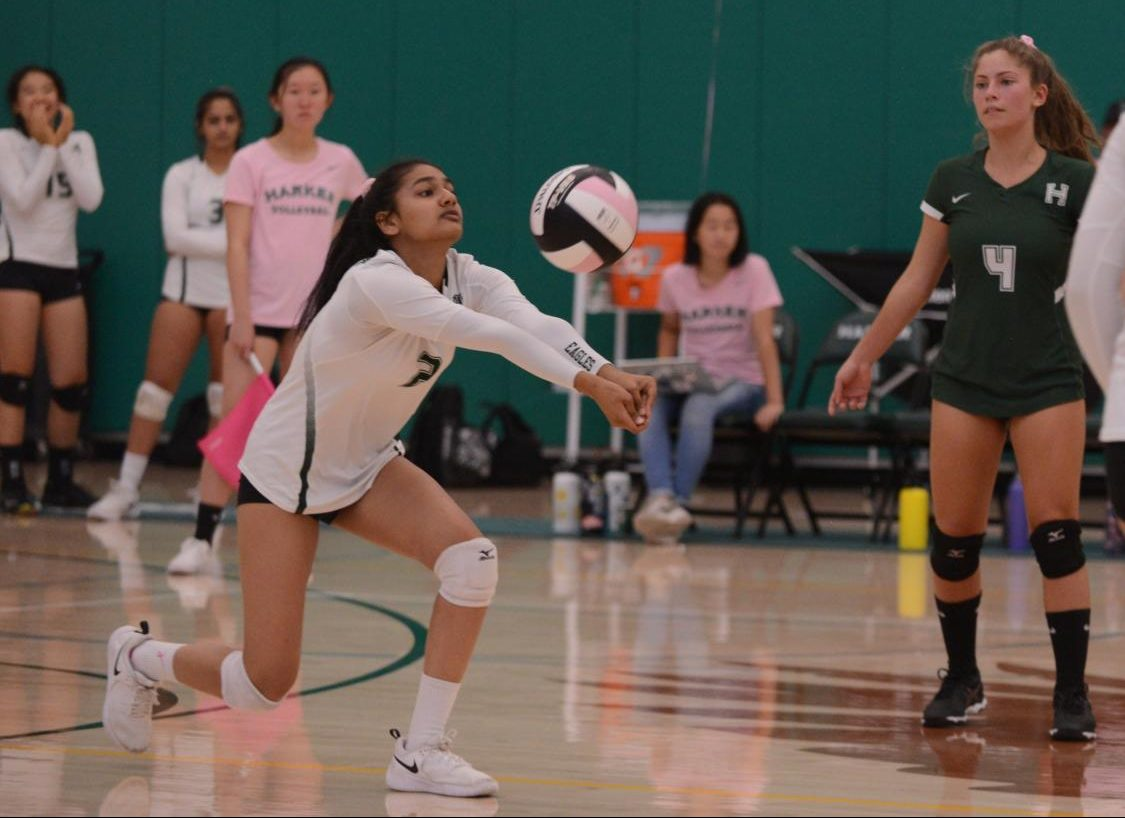 Vidya Jeyendran (11) passes during the second set of the junior varsity match.