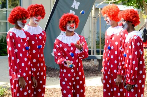 Seniors Rohan Cherukuri, Martin Bourdev, Rishi Dange, Arnav Johshi Nikhil Sharma dressed as clowns in matching red suits covered in white polka-dots, flamboyant red wigs, and classic red noses with white face paint. Not only did their costumes receive appreciation and laughter, but the boys themselves learned juggling as well as enjoyed planning for their costumes together.
