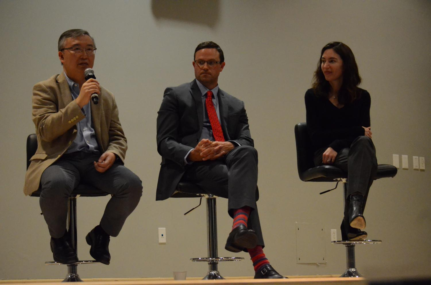 Dr. Lawrence Fung speaks during a panel at the Evening of Medicine event hosted by the upper school Medical Club last Friday. The panel Q&A consisted of three Stanford doctors: Dr. Lawrence Fung, a psychiatrist; Dr. Zachary Vaughn, an orthopedic surgeon; and Dr. Lisa Zaba, a dermatologist.
