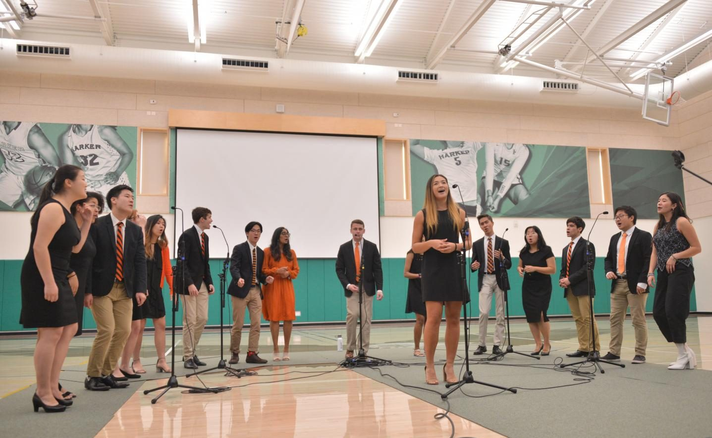 The Princeton Roaring 20 sings at school meeting last Friday. Harker alumni Ishanya Anthapur ('15) is a part of the group, which was touring the Bay Area during Princeton's fall break.