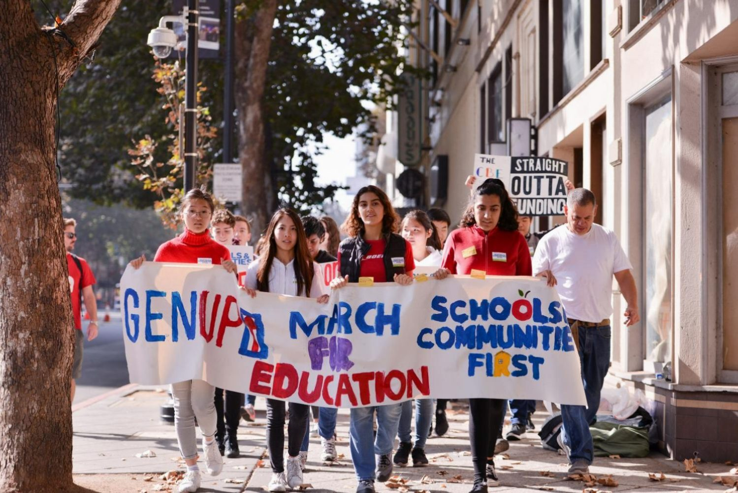 Saanvi Arora (10) joins other high school students from around the Bay Area in leading last Saturday's March for Education. Saanvi is a member of GEN-Up, a student-led social justice organization and student-activist coalition.