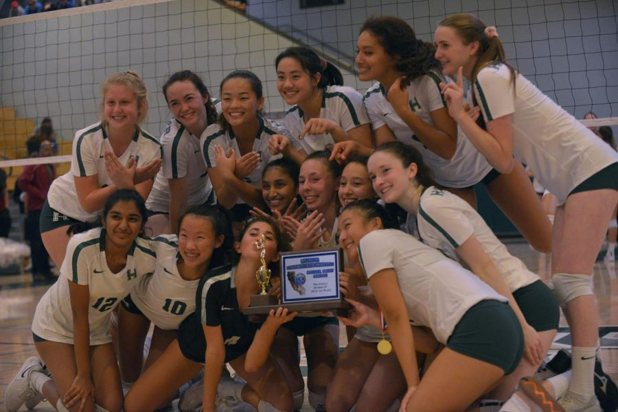 The girls volleyball team poses with the CCS trophy. They defeated the Sacred Heart Prep Gators 25-12, 25-23, 25-14.
