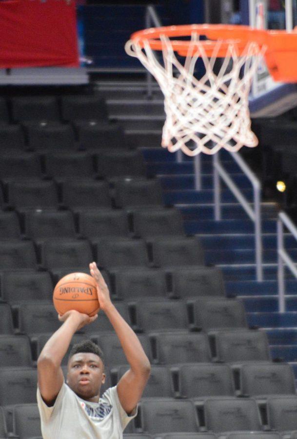 Wizards center Thomas Bryant shoots a jump shot during warmups.