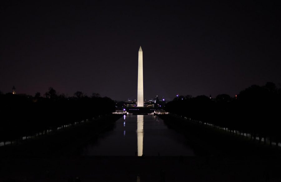 Washington Monument. In front of the Lincoln Memorial Reflecting Pool, the Washington Monument is the tallest structure in the area, built to commemorate George Washington.