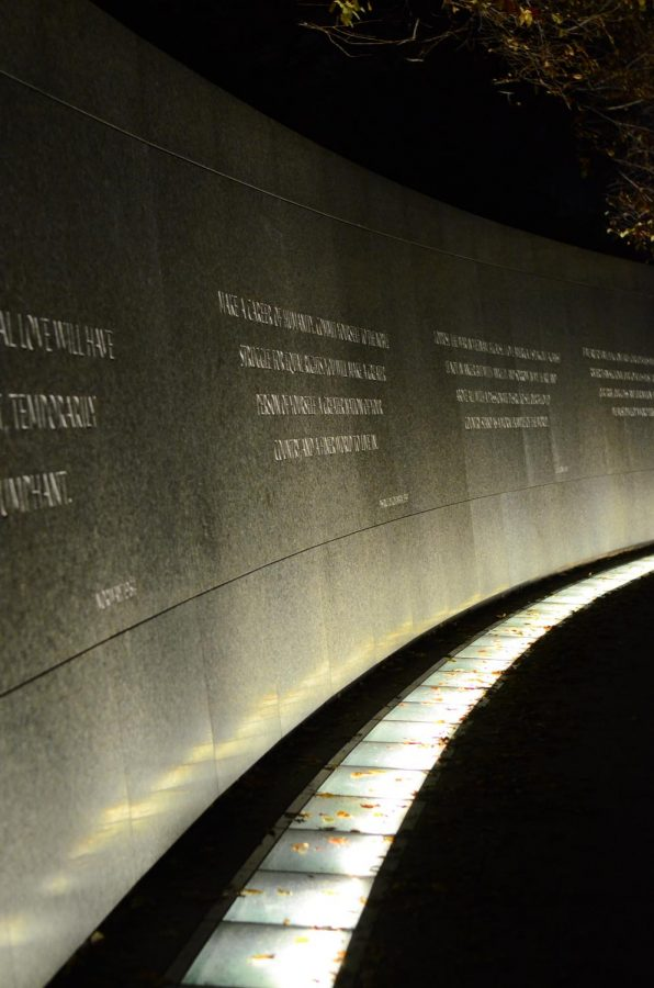 Martin Luther King, Jr. Memorial. The 450 foot-long Inscription Wall features 14 quotes from Martin Luther King, Jr.'s speeches, sermons and writings, honoring justice, democracy, hope and love.
