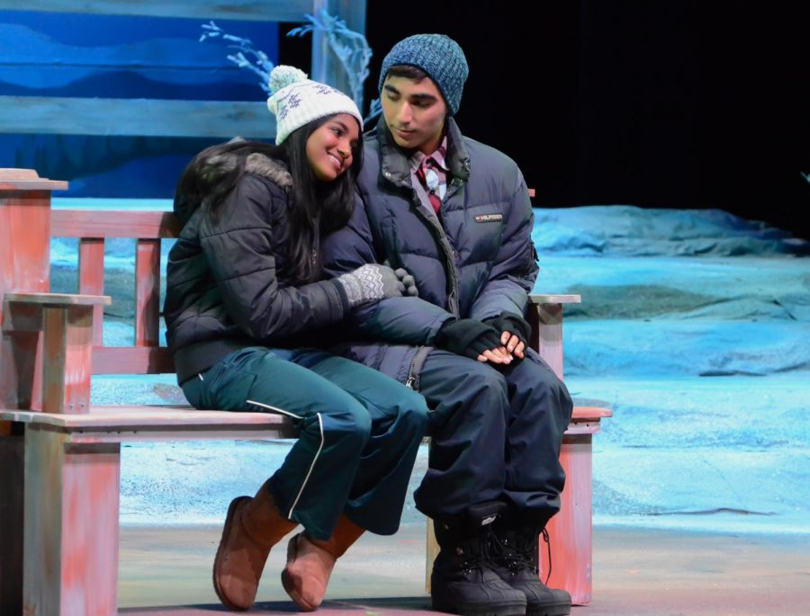 Sarina Sharma (11), playing Ginette, smiles as she rests her head on Nicky Kriplani's (11) shoulder in the prologue of the fall play. The play,