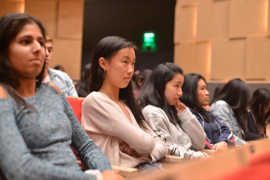 Seniors Arushi Madan, Carolyn Lu, Katie Chang and Michelle Kwan listening to the Q&A session at their LIFE meeting.