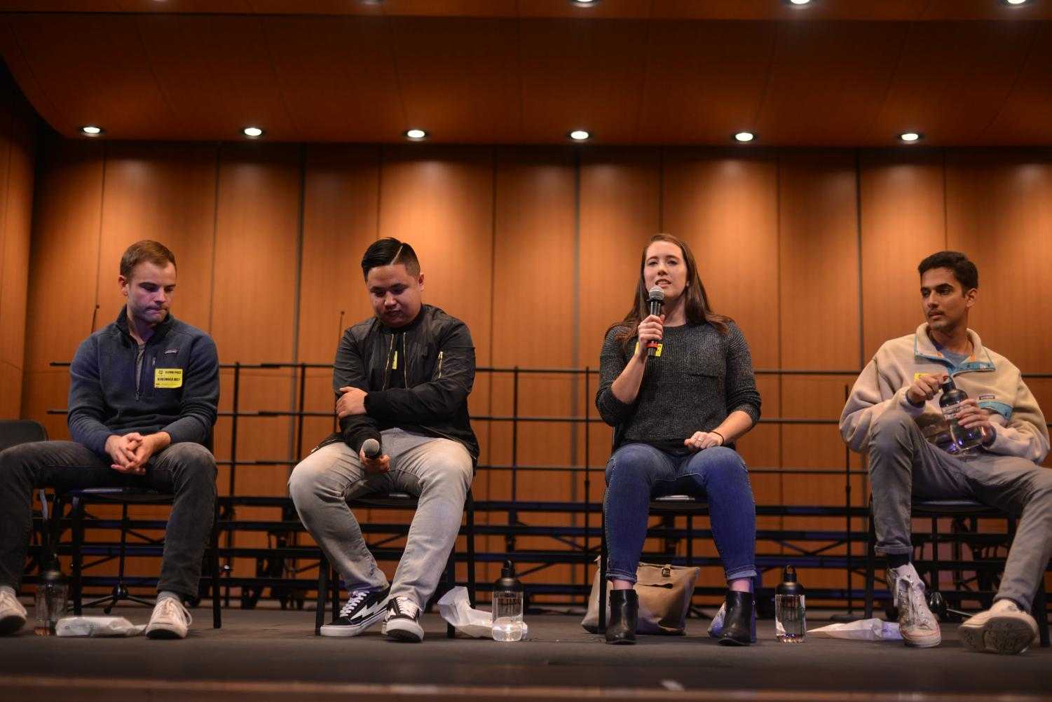 Stephen Hughes ('12), Nick Nguyen ('15), Sheridan Tobin ('15) and Raghav Jain ('16) talk about their college lifestyles during a LIFE meeting for the seniors last Wednesday. The discussion was moderated by seniors Radhika Jain and Adhya Hoskote.