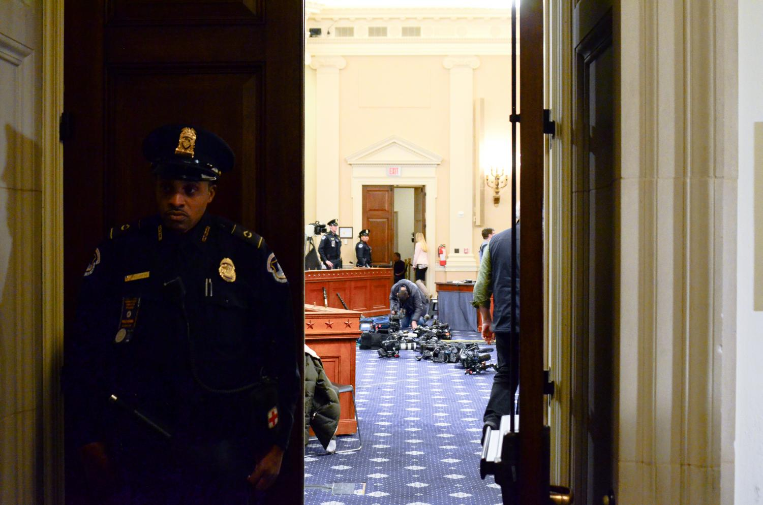 Longworth 1100 in the Longworth House Office Building, where Gordon Sondland testified before the House Intelligence Committee today. Sondland answered questions about his knowledge of alleged arrangements between U.S. President Donald Trump and Ukrainian President Volodymyr Zelensky, starting at 9 a.m. this morning.