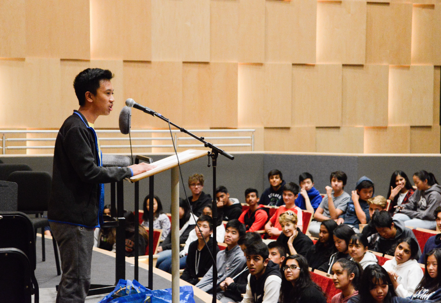 Newly elected freshman class council member Kris Estrada (9) addresses his class at freshman election speeches on Monday. This freshman class inaugurated a new system of elections in which students voted for general class representatives as opposed to specific positions.