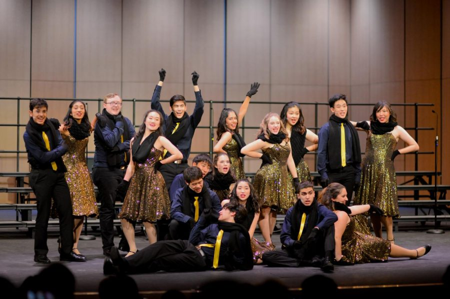 Downbeat wraps up their tour last Friday with their final show of the day, at the upper schools Patil Theater. Their closing number, pictured here, was a dance number, Boogie Woogie Santa Claus, featuring soloist Henry Wiese (12).