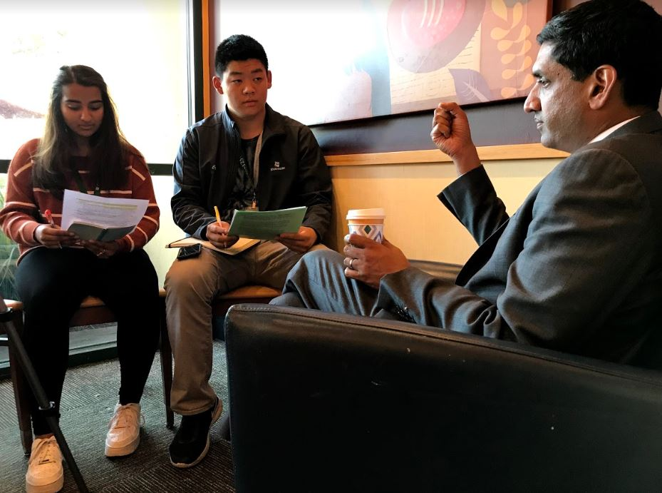 Eric Fang (12) and Arushi Saxena (11) interview Congressman Ro Khanna. Khanna represents California's 17th district, including parts of South and East San Francisco Bay Area.