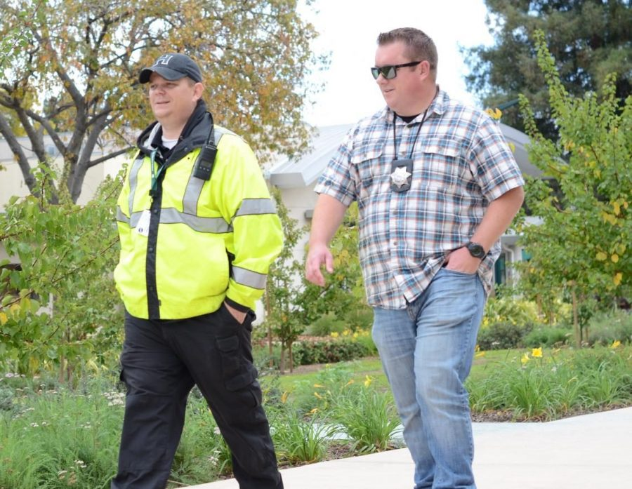 Head of Security Tor Wormdahl and SJPD School Liaison Officer Sean Mattocks patrol the campus on Nov. 14.