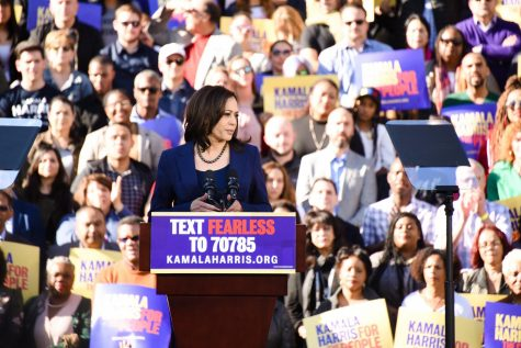 Sen. Kamala Harris looks out at the crowd gathered in her hometown, Oakland, for the official announcement of her 2020 presidential bid. Harris dropped out of the race this morning after publishing announcements on Twitter and Facebook.