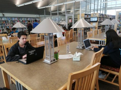 Students study in the library for upcoming final exams. The library has instituted a
