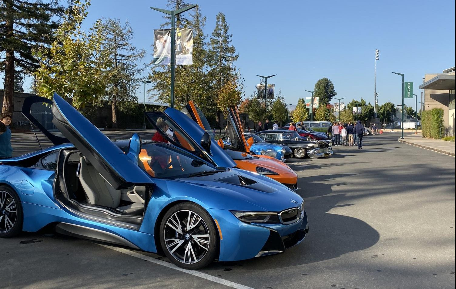 Sports cars such as the BMW i8 line up at the upper school Car Club's first ever car show, which was held in the Saratoga campus parking lot on Nov. 23. Members of the Harker community were invited to drive in their cars to showcase.