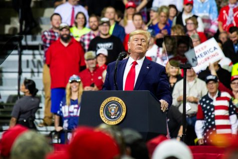 President Donald J. Trump addresses the crowd at Target Center in Minneapolis, MN, for his 2020 presidential campaign rally on Oct. 10, 2019. Trump's Senate impeachment trial began today.