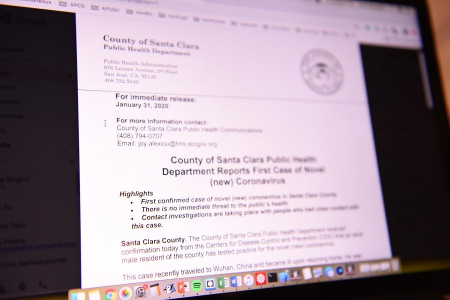 Santa Clara County officially confirmed the first case of coronavirus in the county, with no additional cases being confirmed. County health officials did not reveal his name or the city in which the case was confirmed because of privacy concerns.