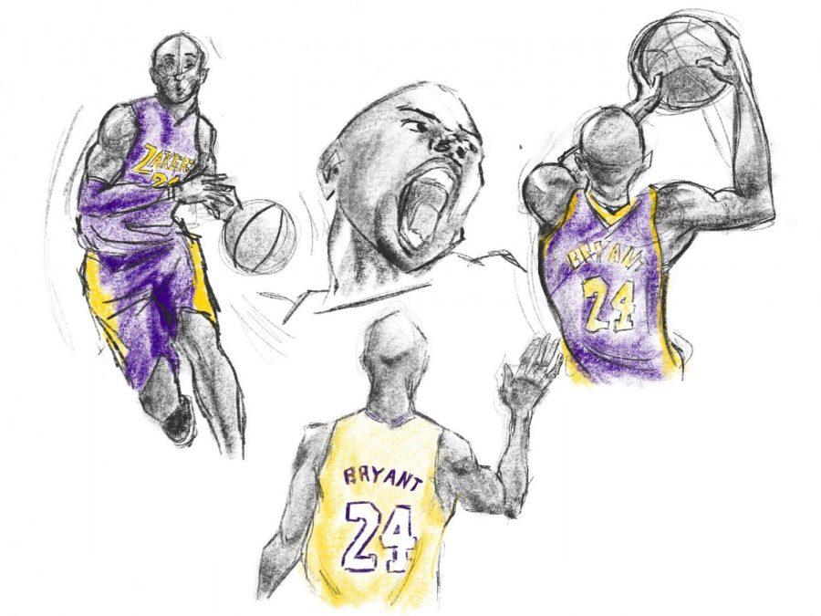 An illustration of Kobe Bryant. Drafted in 1996, he played 20 years for the Los Angeles Lakers and won five championships.
