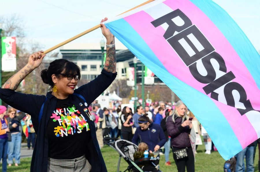 A+demonstrator+waves+a+pink+and+blue+flag+that+reads+%22Resist%22+at+the+San+Jose+Women%27s+March+rally+last+Saturday.