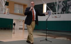 Head of Upper School Butch Keller delivers a talk at school meeting about recent incidents of students using disrespectful language and racial slur. Keller presented an initiative called Challenge Day that aims to encourage diversity of perspective and break down barriers between students and faculty.