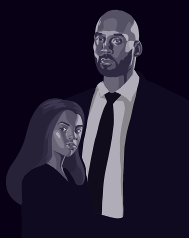 "An illustration of Kobe Bryant, 41, and his daughter Gianna ""Gigi"" Maria-Onore Bryant, 13. They were among the nine passengers who died in a helicopter crash in Calabasas, CA, Sunday morning"