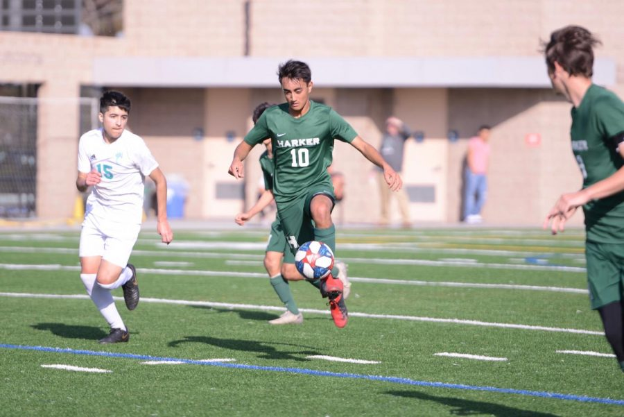 Darshan Chahal (12) controls the ball during the Eagles quarterfinal win against the Evergreen Valley Cougars last Saturday. The Eagles defeated the Cougars 1-0, fighting hard to get on the scoreboard and stay ahead after a scoreless first half.