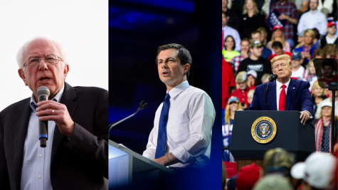 From left to right: Democratic presidential candidates Sen. Bernie Sanders (I-Vt.) and former South Bend Mayor Pete Buttigieg, and Republican presidential candidate President Donald Trump
